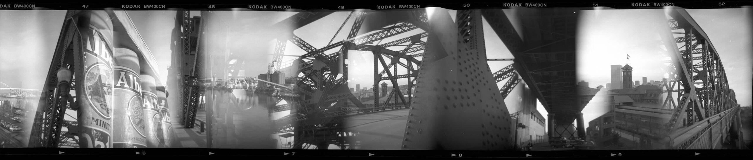 Holga multi exposure composite broadway bridge portland